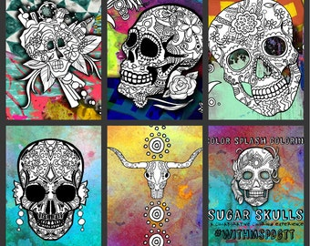 5 MORE-B Sugar Skull Day of the Dead Original Art Coloring Book pages for Adults: dias de los muertos, Coloring Pages for Adults, Printable