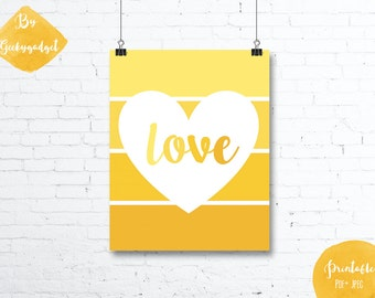 LOVE Heart and yellow paint chip - Nursery poster - Pdf printable, DIY, wall art, inspirational decoration, motivational