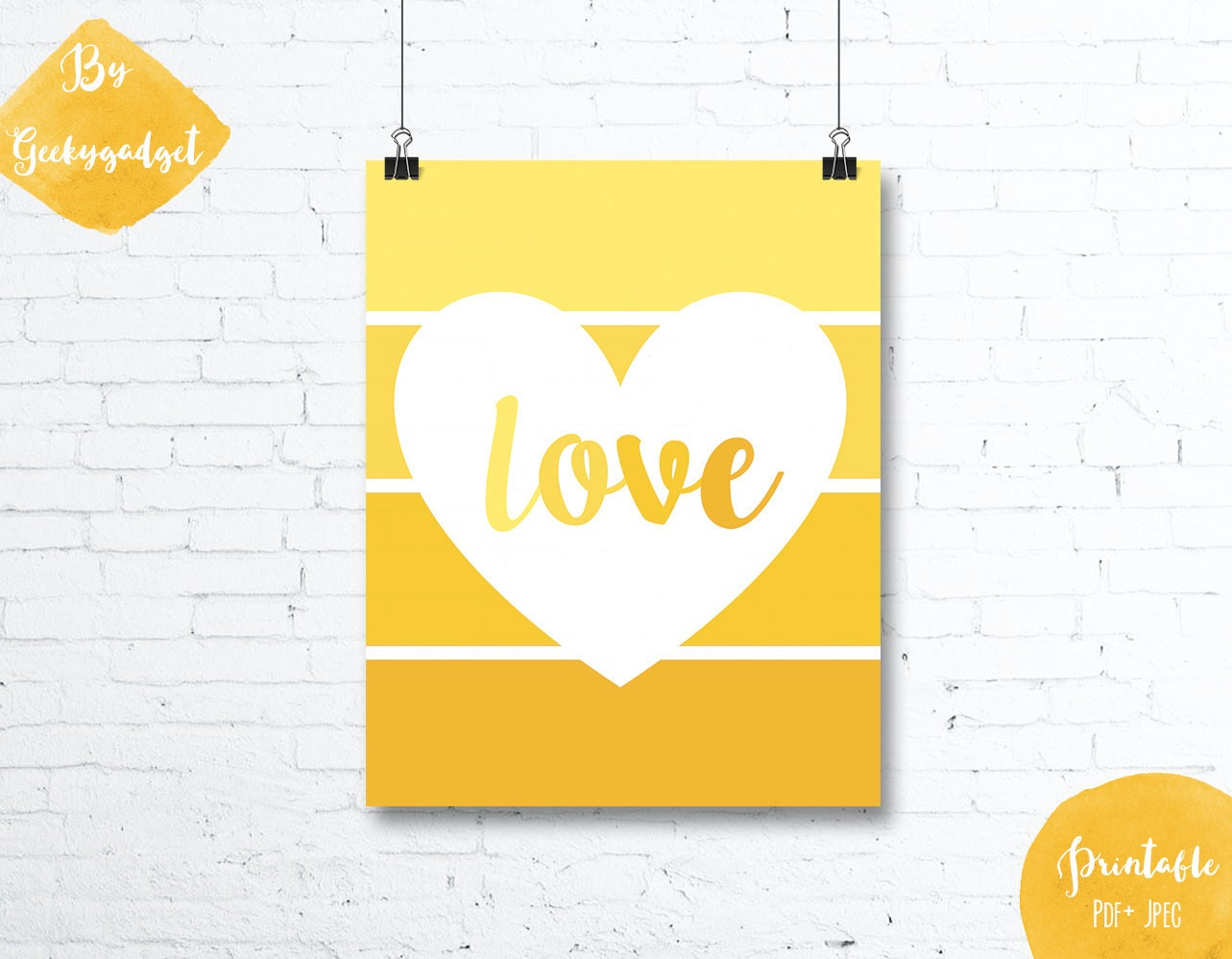 LOVE Heart and yellow paint chip - Nursery poster - Pdf printable ...
