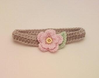 Pink Floral Infant Headband