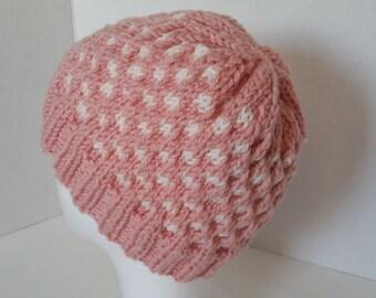Pink Polka Dot Beanie Hat - Polka Dot Knit Hat - Pink Beanie Hat - Pink and White Beanie Hat - Pink Winter Hat - Polka Dot Hat
