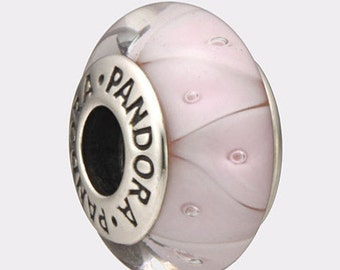 Authentic Pandora Sterling Silver Murano Rose Looking Glass Bead 790922