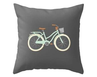 Bike Cushion Cover Bike pillow Bicycle pillow retro bike cushion vintage bike grey charcoal pillow grey cushion retro cushion retro pillow
