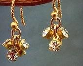 Rhinestone earrings, dangle earrings, gold crystal drops, delicate earrings, bridal jewelry, simple drops, everyday wear jewelry
