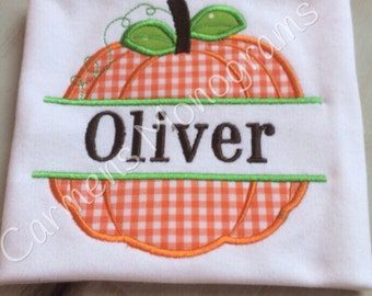 Personalized Applique Pumpkin for Boys or Girls
