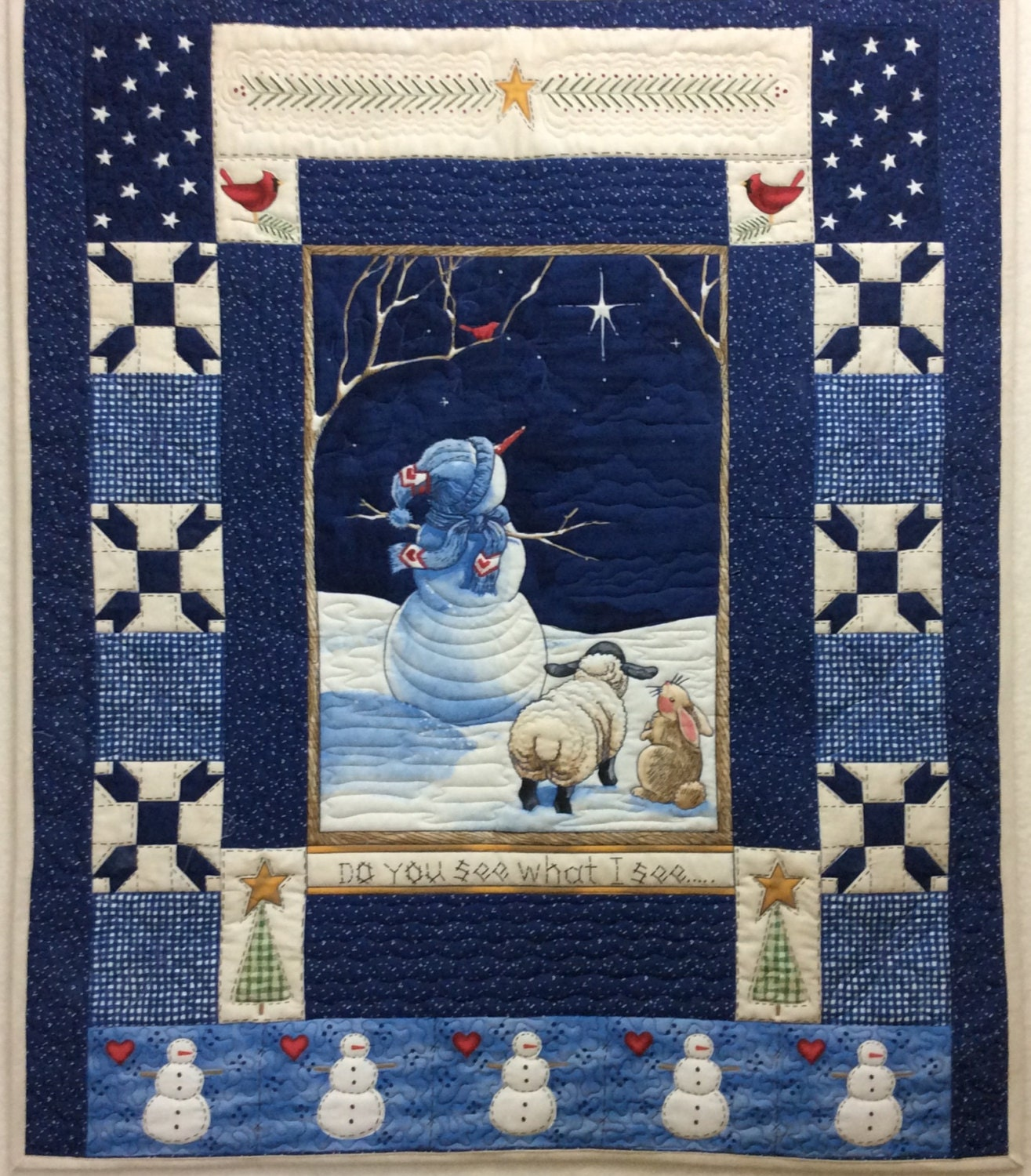 Quilted Christmas wall hanging winter holiday quilt navy blue