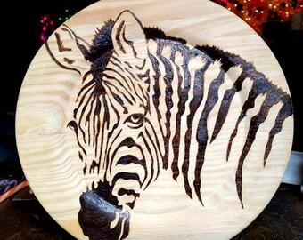 Zebra Pyrography Plate/wood burning