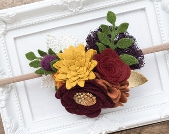 Fall Flower Crown Headband, Fall Baby Headband, Thanksgiving Headband, Autumn Headband, Fall Flower Headband Fall Headband, Harvest Headband