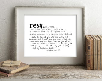 Crowns & Clay REST Defined Series Printable Art, Matthew 11:28-30, Definition Print, Affordable Home Decor, Scripture, Typography
