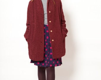 Coat vintage Burgundy wool looped