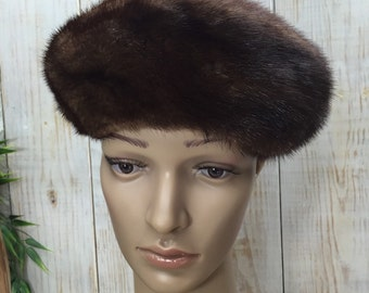 Brown Mink Hat, Gwenn Pennington, John Carroll, Mink Beret,Fur Pillbox Hat, Mink Fur Hat, Designer Mink Hat, Ladies Mink Hat