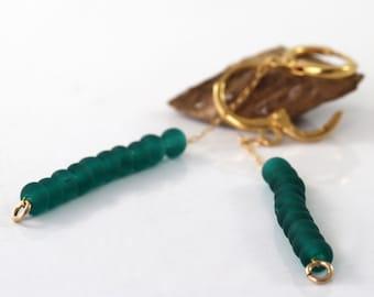 Green Earrings, Gold long Dangle Earrings, Forest Green Drop Earrings, Bead Earrings,  Gold Filled Dainty earrings,