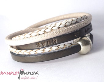 Name bracelet leather article 143 magnetic closure