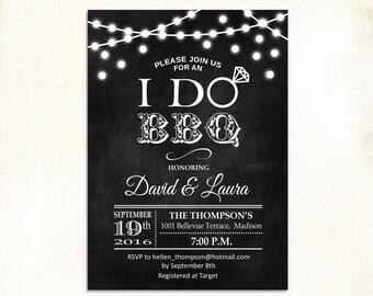 I Do BBQ Invitation / Rustic Couple's Shower Invites / Chalkboard / Fairy Lights / String Lights / Black White / Printable Digital Invite