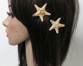 2 x Real Starfish Hair Clips Sea Shell Mermaid Boho Star Fish Beach Festival Ariel O27