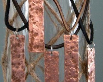 Handmade Hammered Copper Pendants With Leather Cord