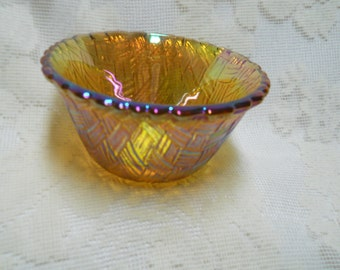 Vintage Orange Iridescent Marigold Basket Weave Pattern Bowl