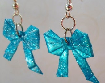 Origami Bow Earrings- Sparkly Blue