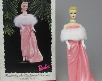 1996 Hallmark Barbie Featuring the Enchanted Evening Keepsake Ornament #3 in Nostalgic Barbie Doll Series