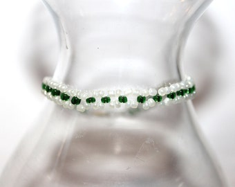 Beaded Bracelet - Green/White - Comes with Gift Bag