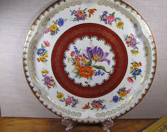Daher Decorated Ware - Round Metal Tray - Red and Gold - Floral - Creamy White Background