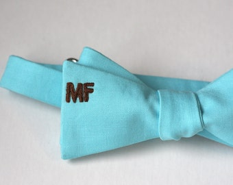 MONOGRAM ADD-ON - Hand-Embroidered on Bow Ties, Ties, Pocket Squares