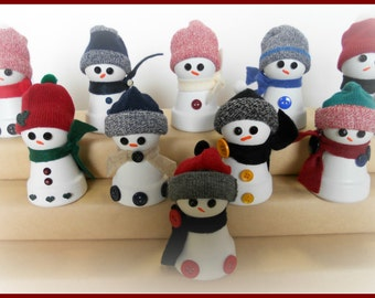 Mini Clay Pot Button Snowman Holiday Winter Gift Set of Ten