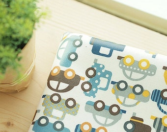 Trucks Laminated Cotton Fabric Blue By The Yard