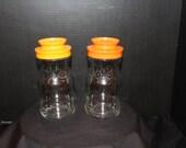 Set of 2 - Glass Tang Jars with Plastic Screw On Orange Lids,  Anchor Hocking, 1960s, Orange Juice, Collectable Jars, Advertising (K060)