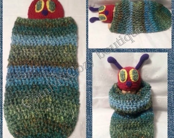 Crocheted Hungry Caterpillar inspired bug baby cocoon set