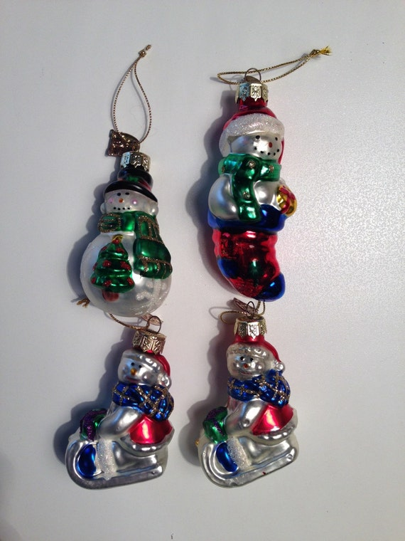 Clearance glass snowmen vintage christmas by reclaimyouth for Christmas ornaments clearance