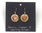 Copper heart on brass disc earrings, Sterling silver earrings, hypoallergenic earrings, heart earrings, pink and gold earrings