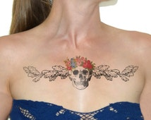 Floral Skull chest temporary tattoo - Body art , Colourful, Tattoo, Accessories NO. R05