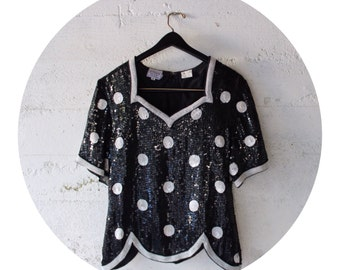 Sequin Black and White Polka Dot Blouse Top