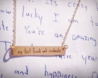 "Handwritten Bar Necklace (1.2"" x .2"") Your Handwriting Rose Gold Yellow Gold Sterling Silver Personalized Gift Mom"