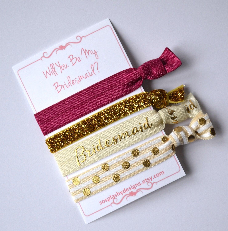 Bridesmaid gift. Bridesmaid hair ties. Choose by ...