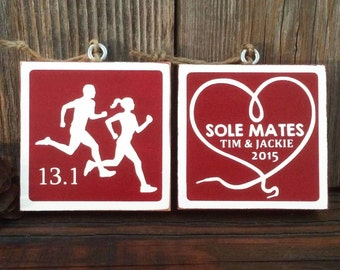 """Personalized Double Sided """"Sole Mate"""" Running Ornament All Distances"""