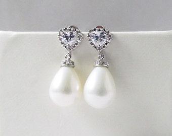 teardrop pearl earrings, pearl teardrop earrings silver, pearl wedding earings, pearl drop earrings, drop pearl earrings, bridal jewelry
