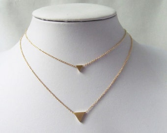 gold triangle necklace, geometric necklace, minimalist necklace, delicate triangle necklace, dainty triangle necklace, layering necklace,