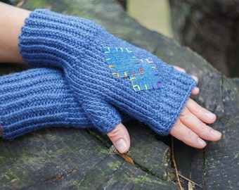 Knit blue mitts, gloves, fingerless mitts, arm warmers, fingerless knitted gloves, women's gloves