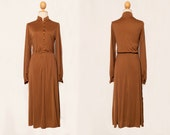 1950 dress | Bronze dress | Long dress | Vintage dress | Oriental dress | Long sleeve dress | Midi dress | Button up dress | Chiffon dress