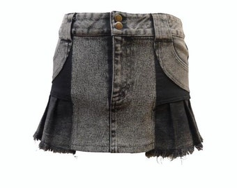 A-Line Pleated Panel Upcycled Short Denim Skirt