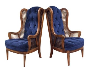 Pair of Vintage Cane Lewitte Wing Back Chairs   Hollywood Regency   Cane   Mid Century   Upholstered Chairs