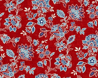 American Folk Red Floral from Studio E by the yard