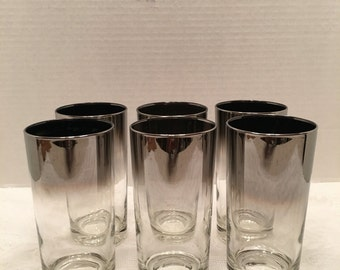 Ombre  Glasses~ Silver Fade ~ Set of Six ~Madmen ~ Dorothy Thorpe style ~ Retro Barware~ Man cave ~ Vintage