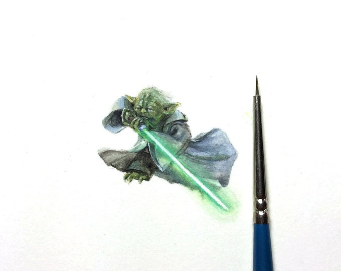 "Print of miniature painting of Yoda starwars.  1 1/4"" x 1 1/4"" print of original yoda painting on 5"" square german etching paper"