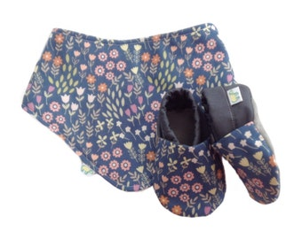 Blue Floral Meadow Baby Shoes and Bandana Gift Set