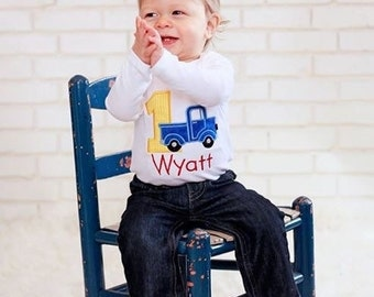 First Birthday Truck Bodysuit, 1st Birthday Boy Bodysuit, Truck Bodysuit, 1st Birthday Outfit, Boy Birthday Bodysuit, 1st Birthday Shirt