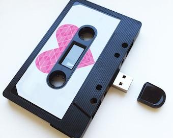4GB/8GB/16GB Pink Heart - USB Mixtape - Retro Personalised Gift - Love, Birthday Present- Boyfriend , Girlfriend, Bestfriend- Flash Drive