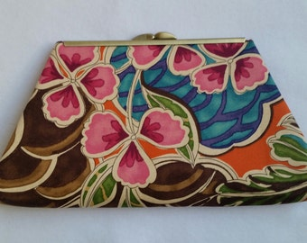 Abstract Foral Clutch with Detachable Strap